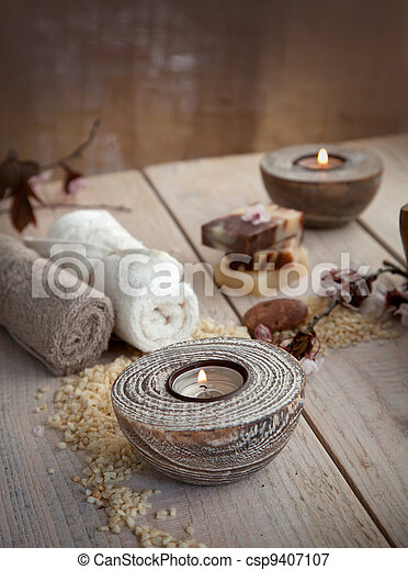 Natural spa setting - csp9407107