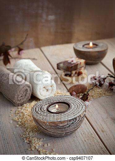 Natural spa setting - csp9407107