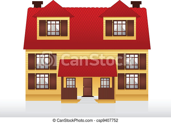 Vector illustration of house illustration of two story for Two story house drawing