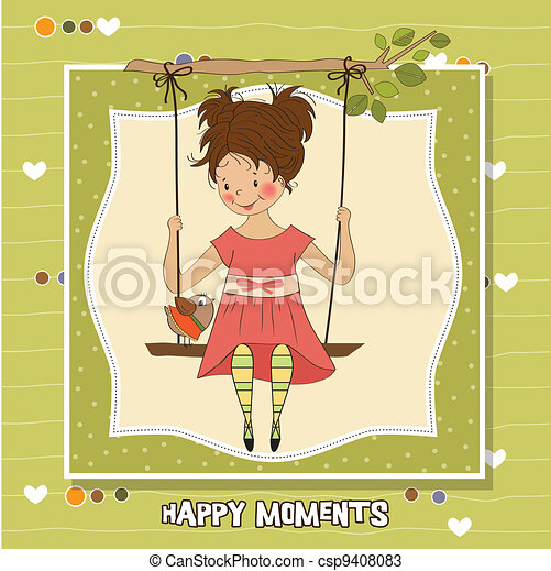 young girl in a swing - csp9408083
