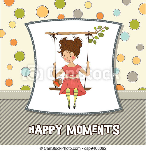 young girl in a swing  - csp9408092