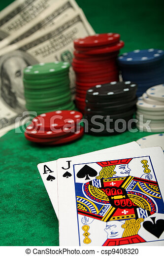 A winning blackjack hand with gambling chips - csp9408320