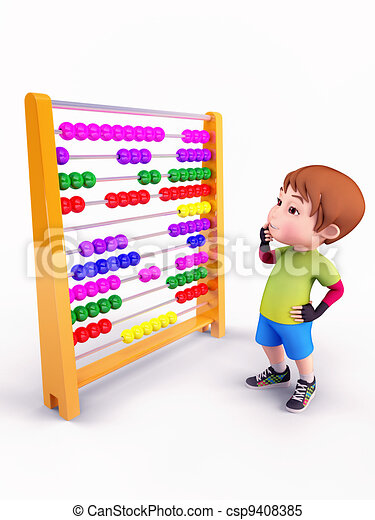 Stock Illustrations of Figure with abacus - Somebody solves a ...