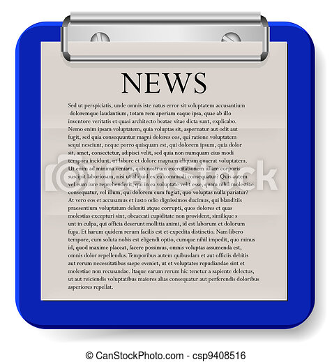 Vector clipboard with news isolated on white. Eps10 - csp9408516