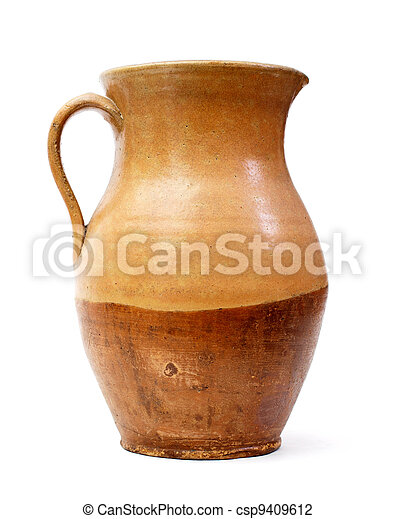 Clay jug, old ceramic vase isolated - csp9409612