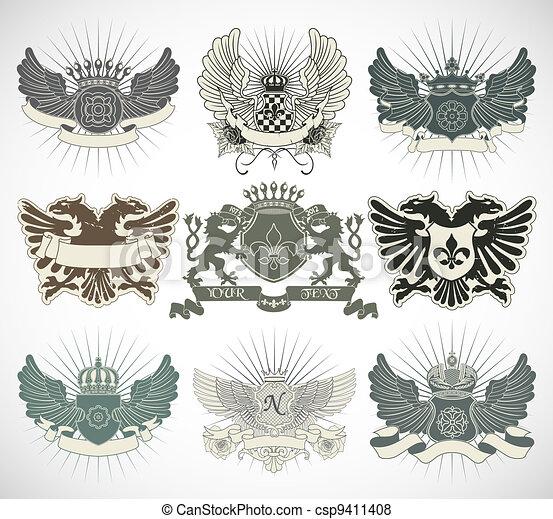 Set of heraldic symbols - csp9411408