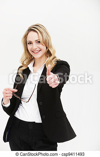 Positive motivated woman giving thumbs up - csp9411493