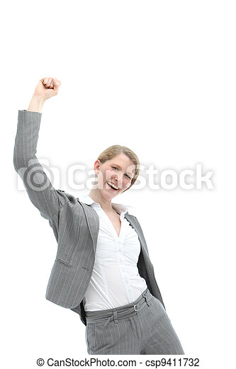 Motivated enthusiastic woman - csp9411732