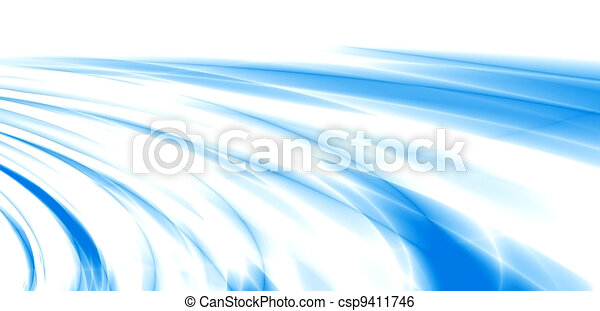 abstract waves, overflowing the tints of blue color on a white background - csp9411746