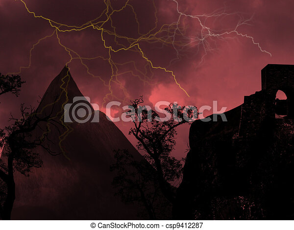 Thunderstorm with lightning - csp9412287