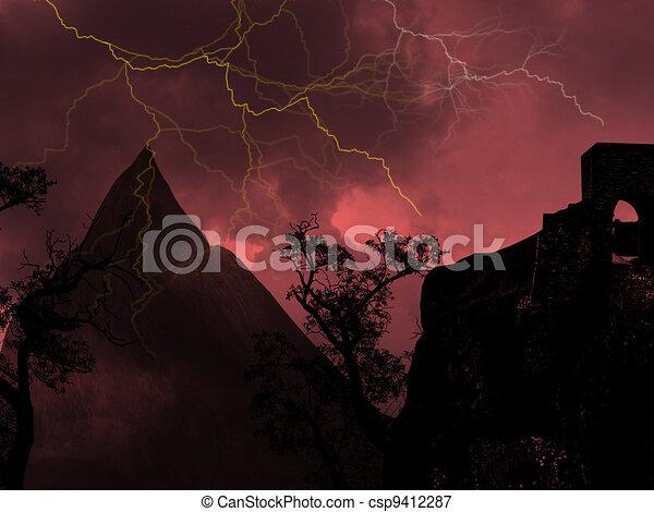 Thunderstorm with lightning - csp9412287