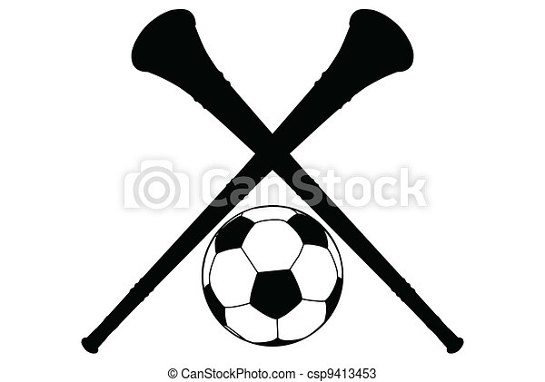 Vuvuzela Horn and Soccer Ball Silhouette Isolation - csp9413453