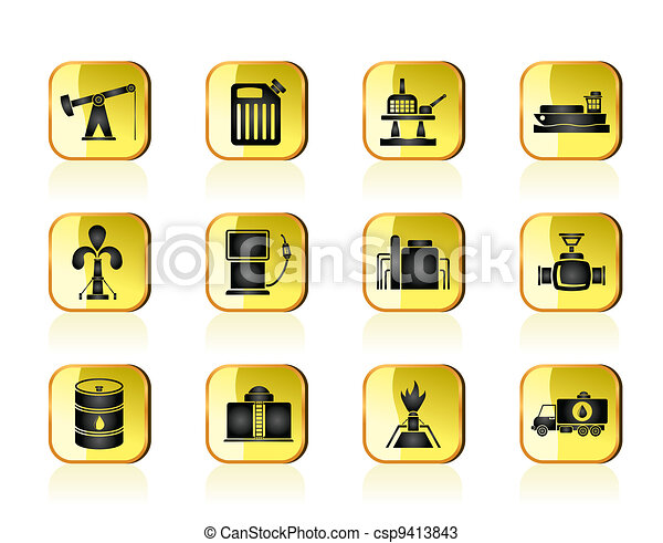 Oil and petrol industry icons - csp9413843