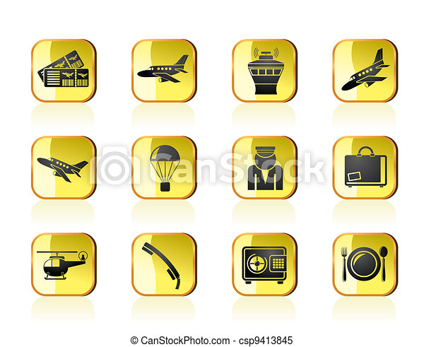 Airport and travel icons - csp9413845