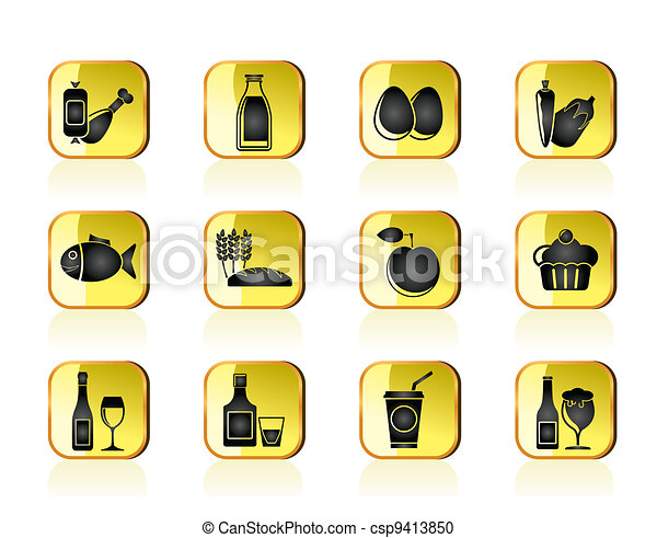 Food, drink and Aliments icons - csp9413850