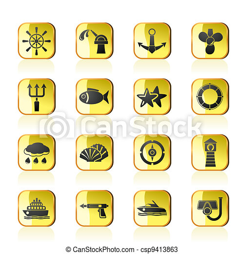 Marine and sea icons - csp9413863