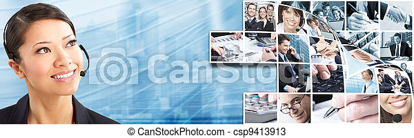 Call center operator woman. - csp9413913