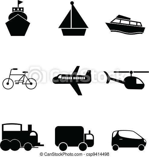 transport silhouettes icons - csp9414498