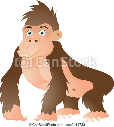 funny gorilla cartoon - csp9414733