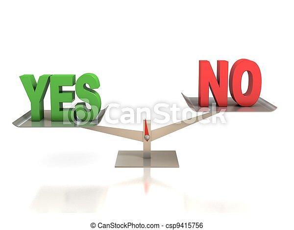 yes or no choice 3d concept - csp9415756
