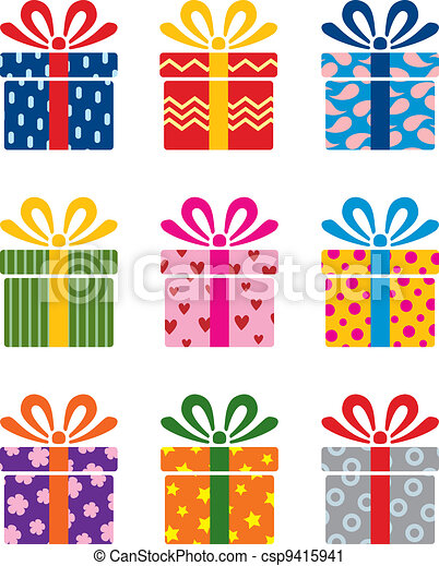 Clip Art Vector of vector colorful gift box symbols - vector set ...