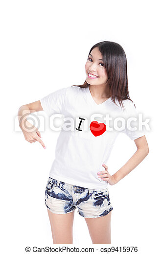 Girl Happy show white T-Shirt with Text (I love) - csp9415976