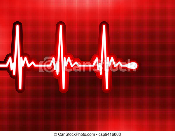 Heart cardiogram on it deep red. EPS 8 - csp9416808