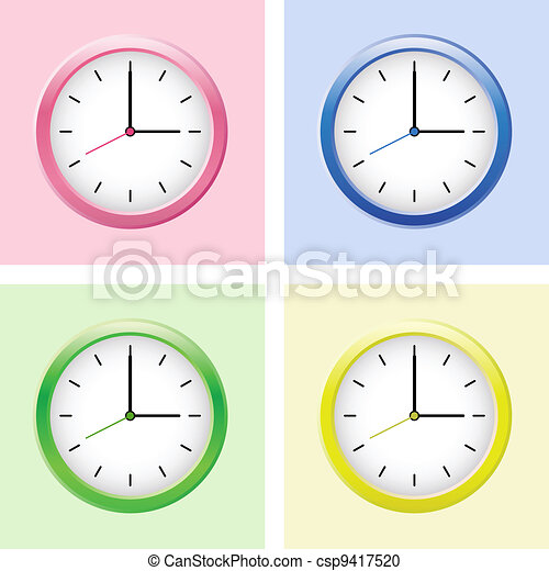 Multicolored clock set. - csp9417520