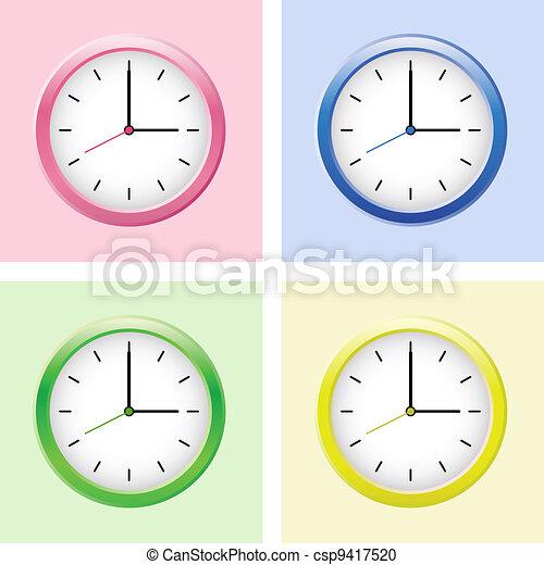 Multicolored clock set. - csp9417520