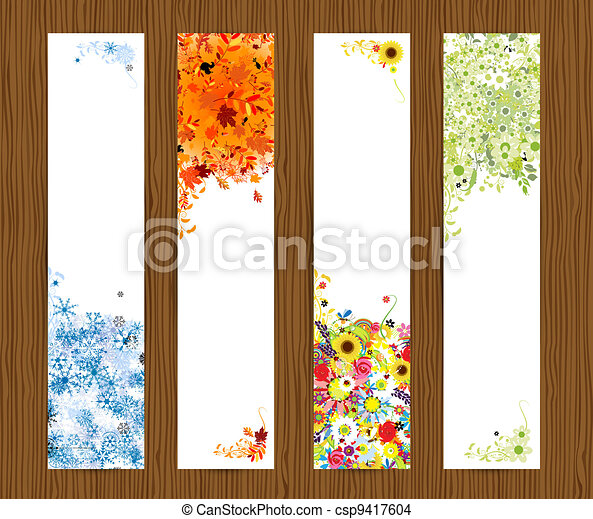 Four seasons - spring, summer, autumn, winter. Banners with place for your text - csp9417604