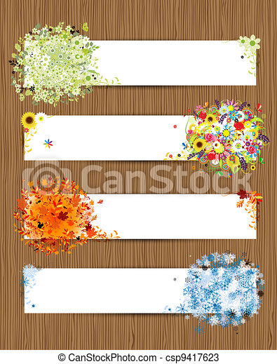 Four seasons - spring, summer, autumn, winter. Banners with place for your text - csp9417623