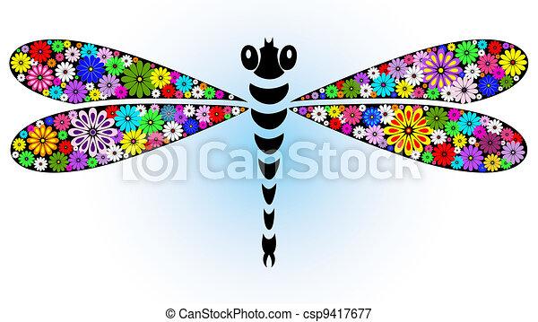 Vivid fantasy dragonfly - csp9417677