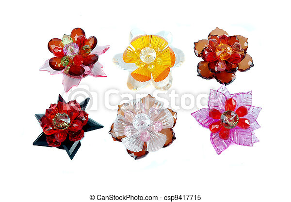 a craft beaded crystal of flower-shaped brooch - csp9417715