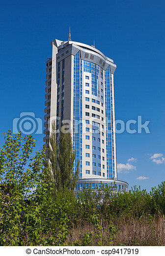 Modern skyscraper on blue sky background in Samara, Russia - csp9417919