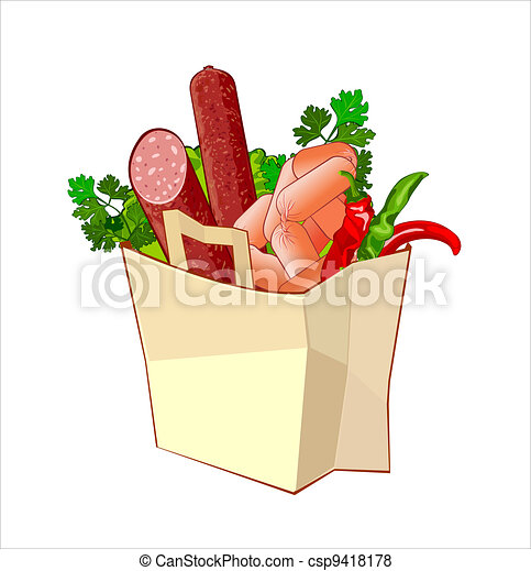 Paper bag with bread, sausage and greengrocery - csp9418178