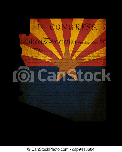 Outline of American USA Arizona state with grunge effect flag insert and overlay of Declaration of Independence document - csp9418604