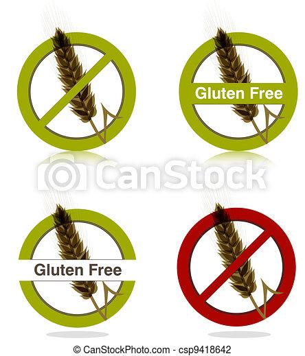 Gluten free diet icons - csp9418642