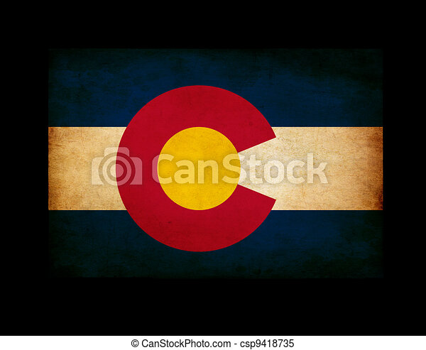 USA American Colorado state map outline with grunge ef fect flag insert  - csp9418735