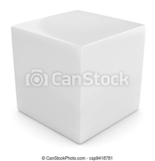 white 3d cube isolated - csp9418781