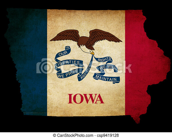 USA American Iowa State Map outline with grunge effect flag - csp9419128