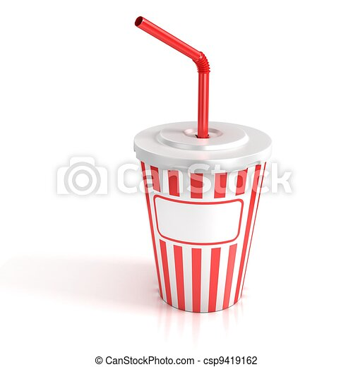 fast food paper cup with red tube - csp9419162