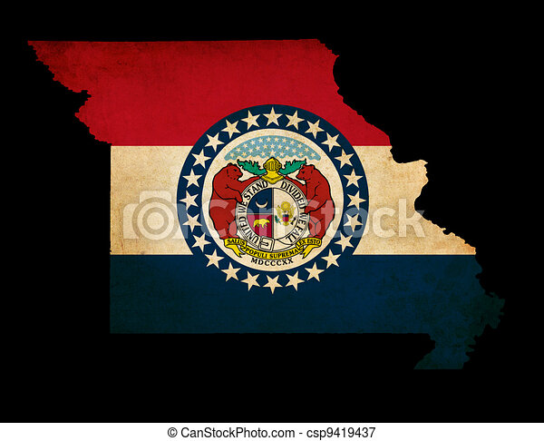 USA American Missouri State Map outline with grunge effect flag - csp9419437