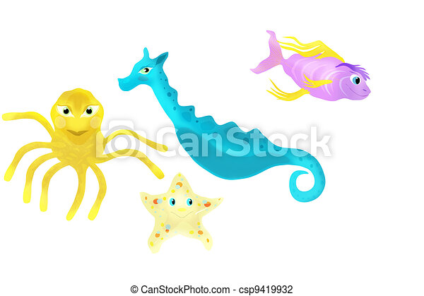 Assortment of Sea Creatures Illustration - csp9419932