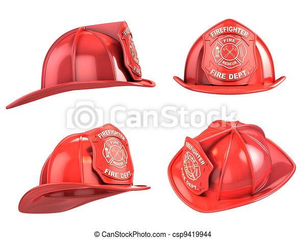 fireman helmet from various angles  - csp9419944