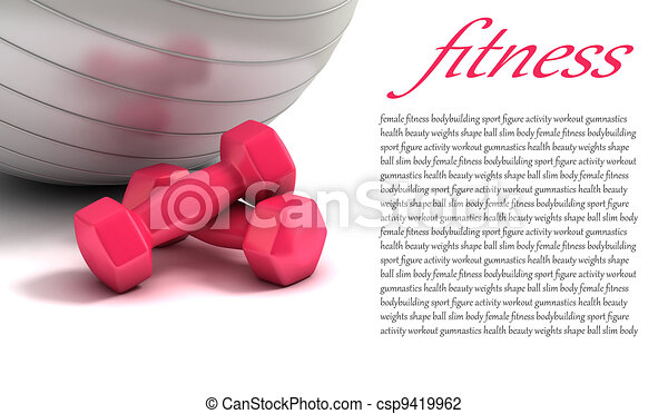 fitness ball and weights - csp9419962