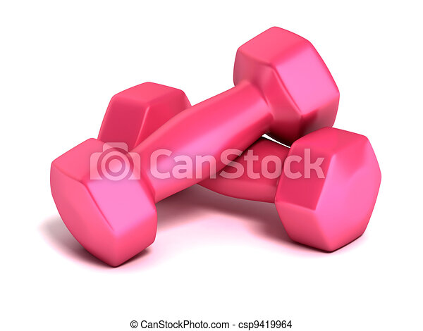 pink fitness weights   - csp9419964