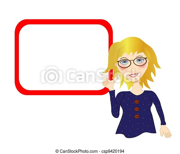 Woman Pointing to a Blank Board - csp9420194