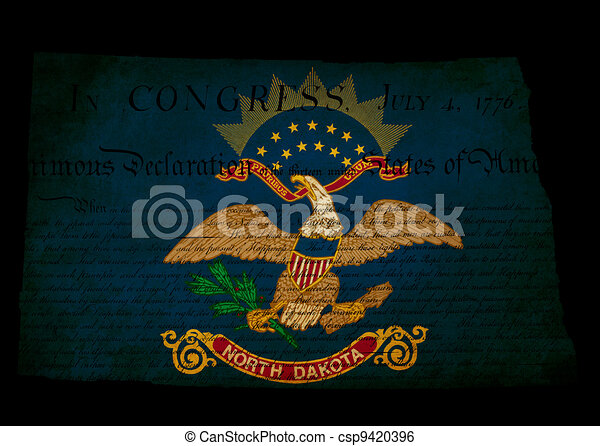 USA American North Dakota state map outline with grunge effect flag insert and Declaration of Independence overlay - csp9420396