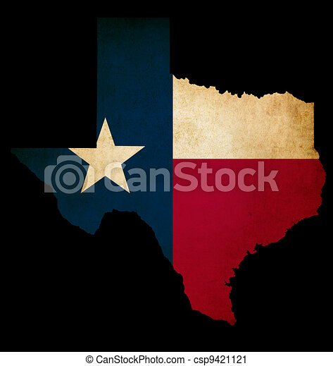 USA American Texas State Map outline with grunge effect flag - csp9421121