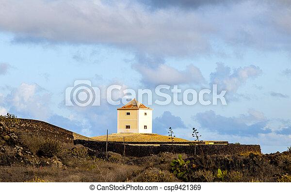 Yaiza, Lanzarote - old  farm house  converted in a home  - csp9421369